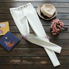 YOYO - 纽扣装饰中腰弹力修身打底铅笔裤