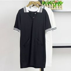 AIGIL - Perforated Short-Sleeve Polo Dress