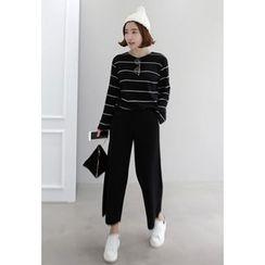Miamasvin - High-Waist Wide-Leg Knit Pants