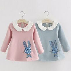 Seashells Kids - Kids Rabbit Applique Long-Sleeve Dress