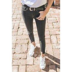 migunstyle - Frey-Hem Skinny Jeans