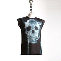 Green Banana - Cap-Sleeve Skull Print T-Shirt