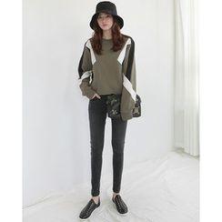 NIPONJJUYA - Color-Block Cotton Sweatshirt