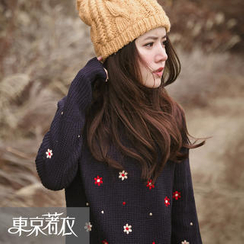 Tokyo Fashion - Embroidered-Flower Sweater