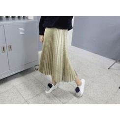 MARSHMALLOW - Elastic-Waist Pleated Metallic Maxi Skirt