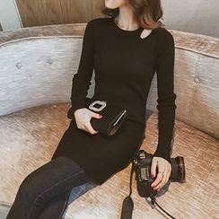 IndiGirl - Slit-Shoulder Sheath Knit Dress