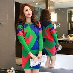 Romantica - Set: Patterned Knit Top + Patterned Knit Skirt