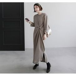 Miamasvin - Knotted-Front Long Pullover Dress
