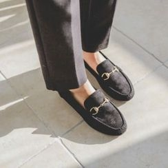 JUSTONE - Metal-Trim Faux-Suede Loafers