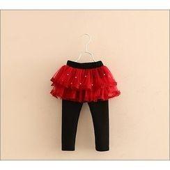Seashells Kids - Kids Embellished Tulle Skirt Fleece Lined Leggings