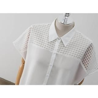 PEPER - Short-Sleeve Sheer Check-Panel Chiffon Blouse