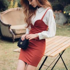 Dowisi - Mock Two Piece Collared Long Sleeve Dress