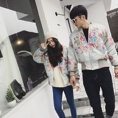 AJIEJIA - Couple Matching Floral Embroidered Padded Jacket