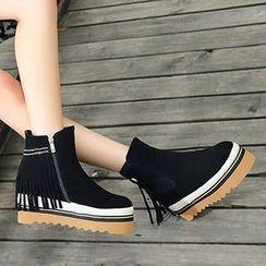 Gizmal Boots - 厚底毛里及踝靴