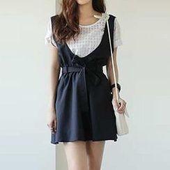 Jolly Club - Set: Short-Sleeve Check Panel Top + Jumper Skirt