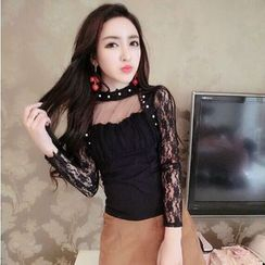 Baliz - Long-Sleeve Lace Blouse