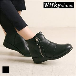 Wifky - Wedge-Heel Genuine Leather Ankle Boots