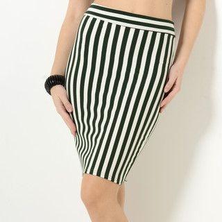 59 Seconds - Slit-Back Striped Pencil Skirt