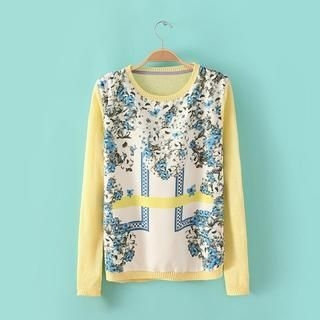 JVL - Floral Chiffon Panel Sweater