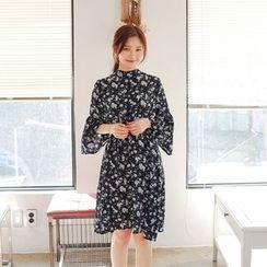 Cherryville - Ruffle-Cuff A-Line Chiffon Dress