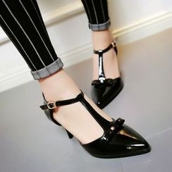 Shoes Galore - Bow T-Strap Patent Kitten Heels