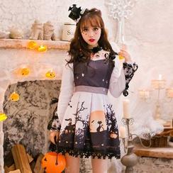 糖果雨 - 蕾丝拼接印花长袖连衣裙