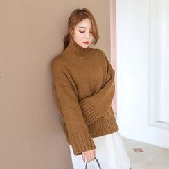 PPGIRL - Turtle-Neck Loose-Fit Knit Top
