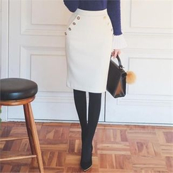 ode' - Button-Trim Pencil Skirt