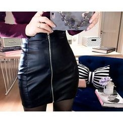 Marlangrouge - Zip-Front Faux-Leather Mini Pencil Skirt