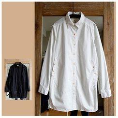 Rosadame - 纯色长款衬衫