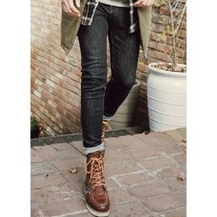 JOGUNSHOP - Stitched Slim-Fit Jeans