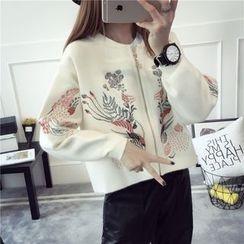 Pecora - Leaf Embroidered Knit Zip Jacket