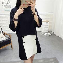 PinkDAY - Set: Angora Wool Blend Knit Top + Buttoned A-Line Skirt