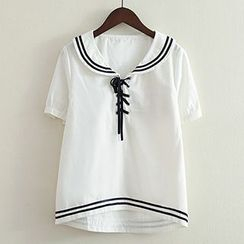 ninna nanna - Sailor Collar Lace Up Short-Sleeve Top