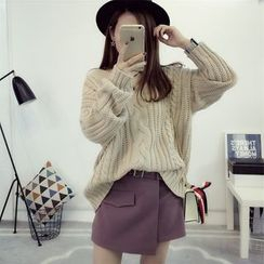 PinkDAY - V-Neck Cable-Knit Sweater