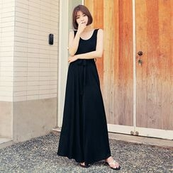 HOTPING - Sleeveless Wide-Leg Jumpsuit With Sash