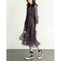 UPTOWNHOLIC - Wrap-Front Floral Print Chiffon Dress