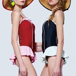 DJ Design - Color Block Frilled Trim Swimsuit