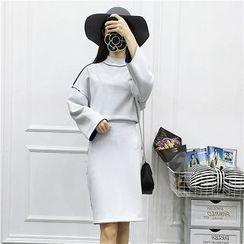 Be Bonita - Set: Drop-Shoulder Top + Pencil Skirt
