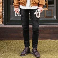 MEOSIDDA - Distressed Brushed-Fleece Lined Slim-Fit Jeans