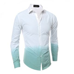 Hansel - 渐变色领带-扎染长袖衬衫