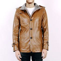 Evzen - Fleece Lined Faux Leather Jacket