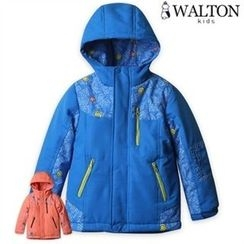 WALTON kids - Kids Hooded Lettering Brushed-Fleece Lined Coat
