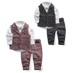 WellKids - Kids Set: Plaid Vest + Plaid Pants