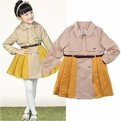CURLYSUE - Color-Block Pleated Trench Coat with Belt