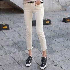 CHICFOX - Fleece-Lined Straight-Cut Pants