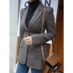 STYLEBYYAM - Wool Blend Peaked-Lapel Check Blazer