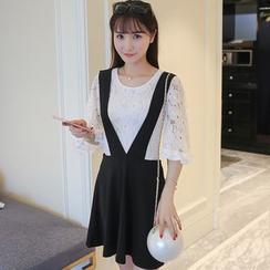 Keylook - Set : Bell-Sleeve Lace Top + Suspender Skirt