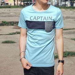 SeventyAge - Color-Block Pocket Short-Sleeve T-Shirt