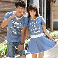 Igsoo - Couple Lettering T-Shirt / T-Shirt Dress